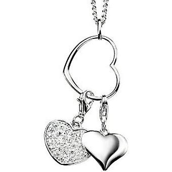 Elements 925 Silver Multi Heart Charm Crystal Pendant on 18 Inch Chain P3240C