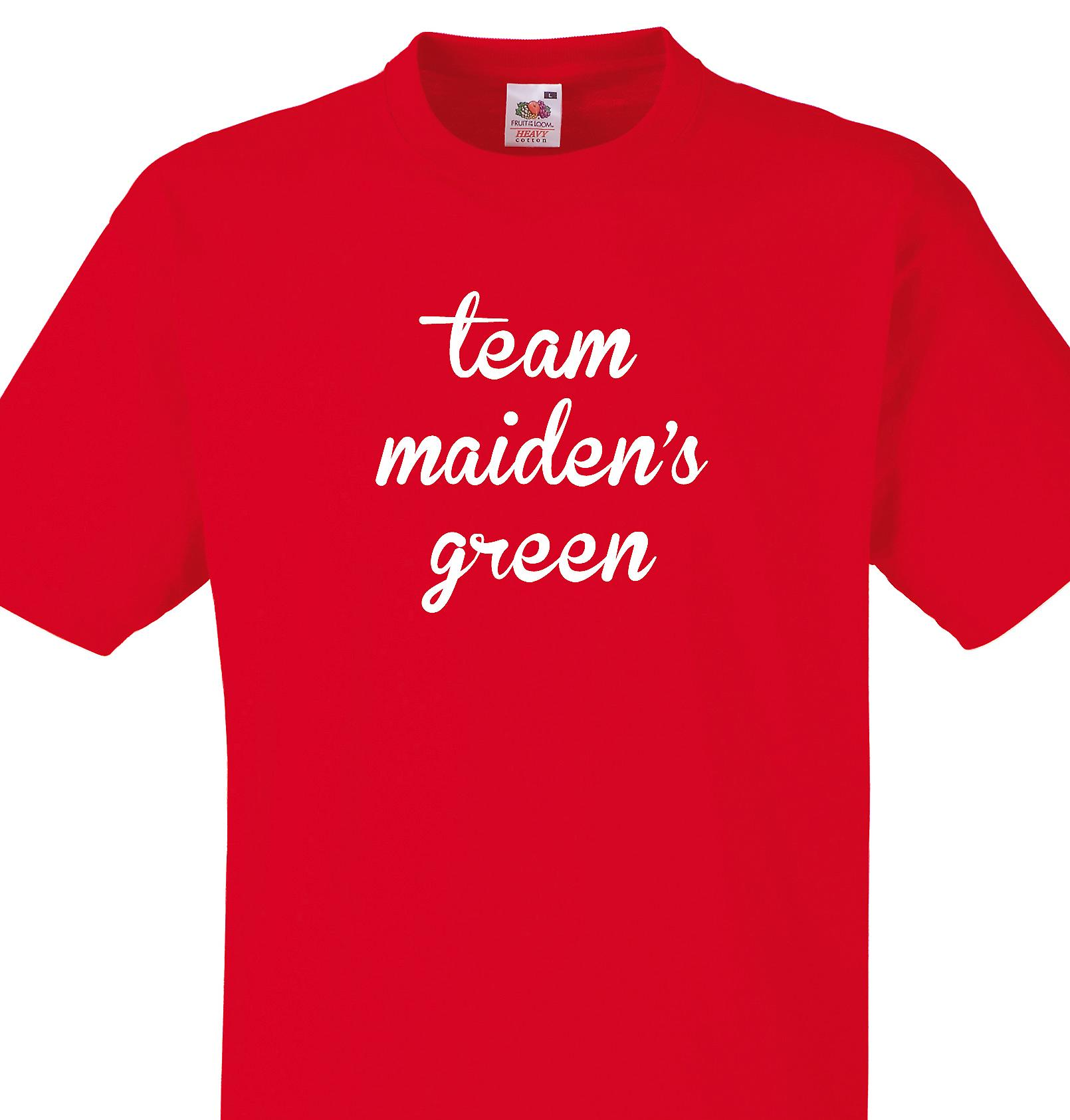 Team Maiden's green Red T shirt