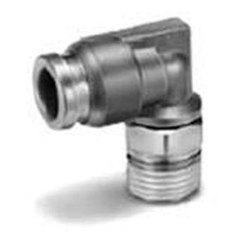 SMC Pneumatic Elbow Threaded-To-Tube Adapter, R 1/4 Male, Push In 6Mm