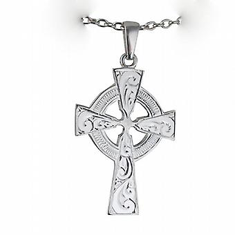 Silver 40x29mm hand engraved Celtic Cross with bail on a cable Chain 18 inches