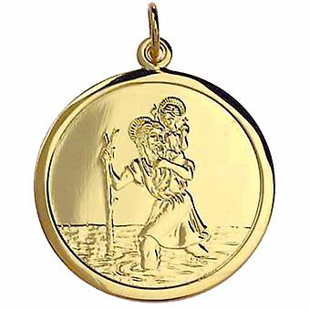 9ct or 25mm rond St Christopher pendentif