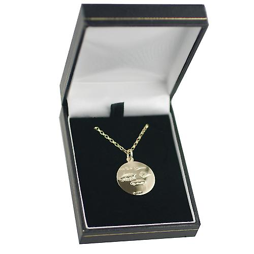 9ct Gold 21mm round St Christopher Pendant with car boat train plane on back with belcher Chain 16 inches Only Suitable for Children