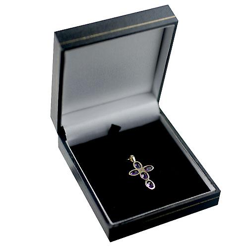 9ct Gold 25x16mm Cross set with 5 Amethyst and 1 Pearl