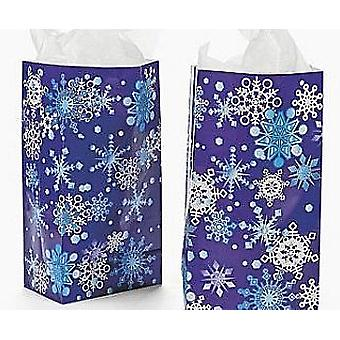 12 Snowflake Print Paper Party Bags for Christmas | Gift Wrap Supplies