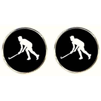 Bassin et brun Hockey Player boutons de manchette - noir/blanc