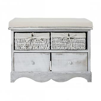 Storage bench From Shabby Chic Interior 2 drawers and 2 movable Baskets-Re4039-Rebecca