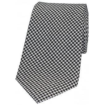 David Van Hagen Dogtooth Silk Tie - Black/White