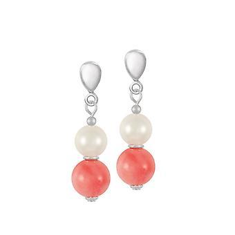 Eterna colección Duo Coral y concha perla tono plata gota Clip en pendientes