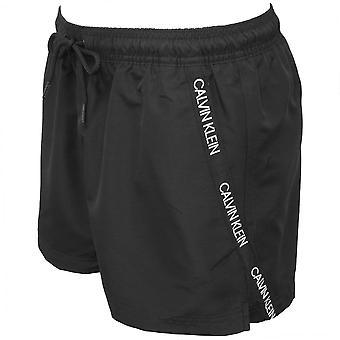 Calvin Klein Angled Logo Tape Swim Shorts, Black
