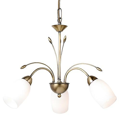 Endon 2007-3AN Traditional Brass 3 Arm Ceiling Light With Opal Glass - Dual Mount
