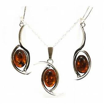 Toc Sterling Silver Amber Pendant and Drop Earrings Set