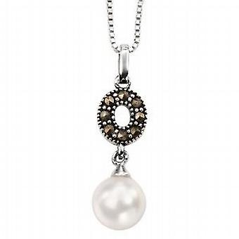 Elements Marcasite Crystal  Imitation Pearl Drop Pendant  18