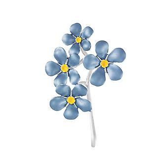 Eternal Collection Forget-Me-Not Blue Enamel Silver Tone Brooch