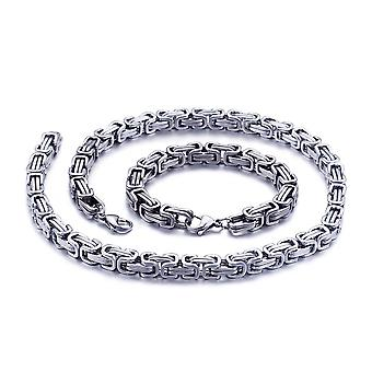 Bracelet royal 5mm bracelet homme collier pour hommes, 70cm chaînes en acier inoxydable en argent