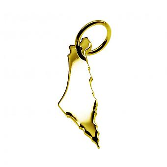 Pendant map chain pendant in gold yellow-gold in the form of ISRAEL
