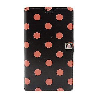 Small Universal Slider Folio Black - Pink Polka Dots