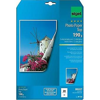 Photo paper Sigel Photo Paper Top IP720 DIN A4 190 gm² 20 Sheet High-lustre, Double sided