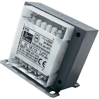 Control transformer, Isolation transformer, Safety transformer 1 x 230 V 2 x 18 Vac