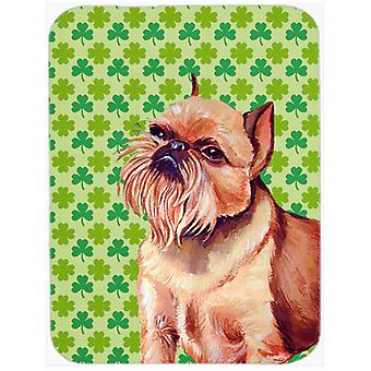 Brussels Griffon St. Patrick's Day Shamrock Portrait Glass Cutting Board Large