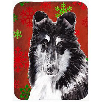 Black and White Collie Red Snowflakes Holiday Mouse Pad, Hot Pad or Trivet SC9750MP