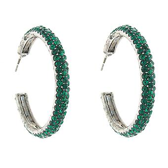 Classic Emerald Swarovski Crystal Fashion Hoop Earrings 3.5 cms