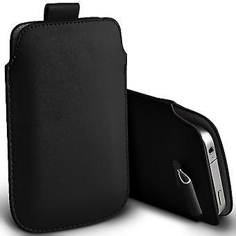 ONX3 (schwarz) Samsung Galaxy Ordner 2 SM-G1600 Fall hochwertige Beutel Hülse Kunstleder Gehäusedeckel mit Zugschnur Registerkarte schlüpfen In