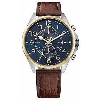 Tommy Hilfiger Mens Dean Brown Leather Strap Blue Dial 1791275 Watch
