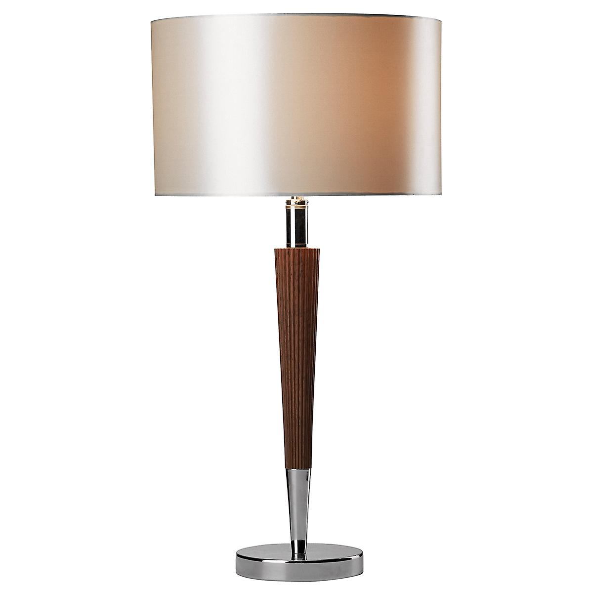 Dar VIK4081 Viking Table Lamp Dark Wood With Cream Shade