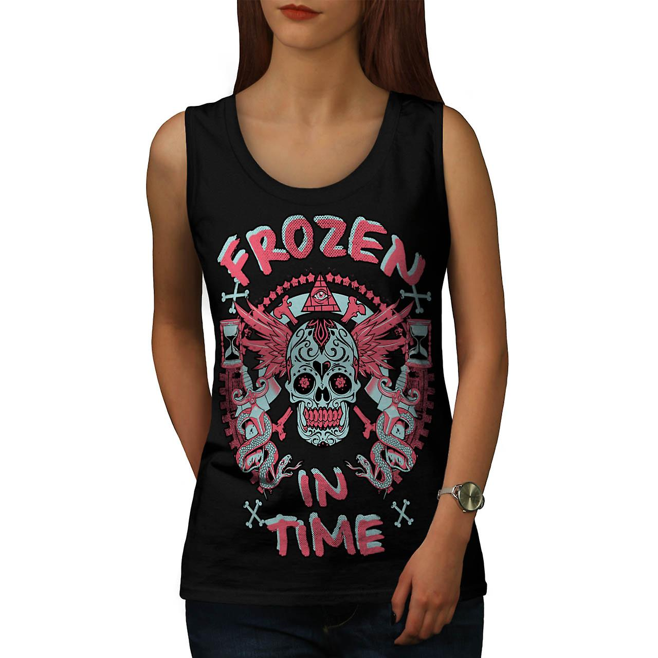 Frozen In Time Skull Secret Gang Women Black Tank Top | Wellcoda