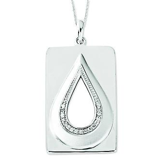Sterling Silver Cubic Zirconia Antiqued He Will Wipe Away Our Tears 18inch Necklace