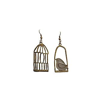 Nice asymmetrical statement earrings gold