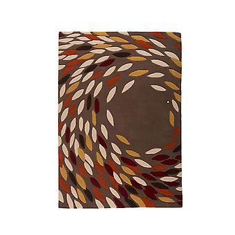 Gold & Red Swirl Contemporary Rug Carnival