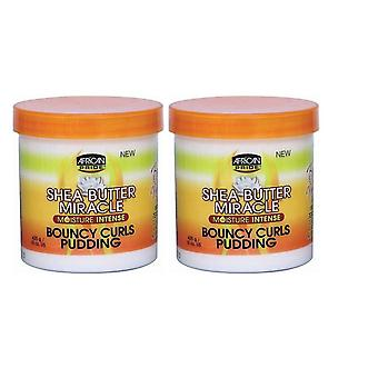 African Pride Shea Butter Miracle Bouncy Curls Pudding 15oz Jar (2 Pack)