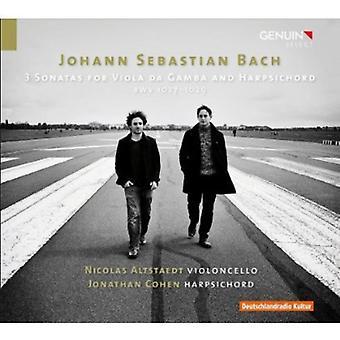 J.S. Bach - Bach: 3 sonater for Viola Da Gamba og cembalo, Bwv 1027-1029 [CD] USA importerer