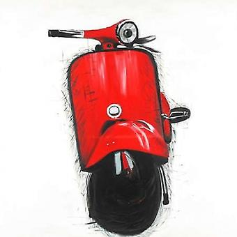 Red Italian Scooter Poster Print by Atelier B Art Studio