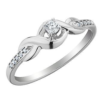 Diamond Infinity Promise Ring 1/6 Carat (ctw) in 10K White Gold