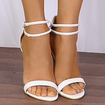 Shoe Closet White Barely There Peep Toes Strappy Sandals Stilettos High Heels