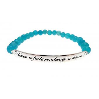 W.A.T  925 Sterling Silver 'Never A Failure Always A Lesson' Turquoise Jade Quote Bracelet
