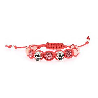 W.A.T 925 Sterling Silver Skull And Glitterball Pink Macrame Bracelet