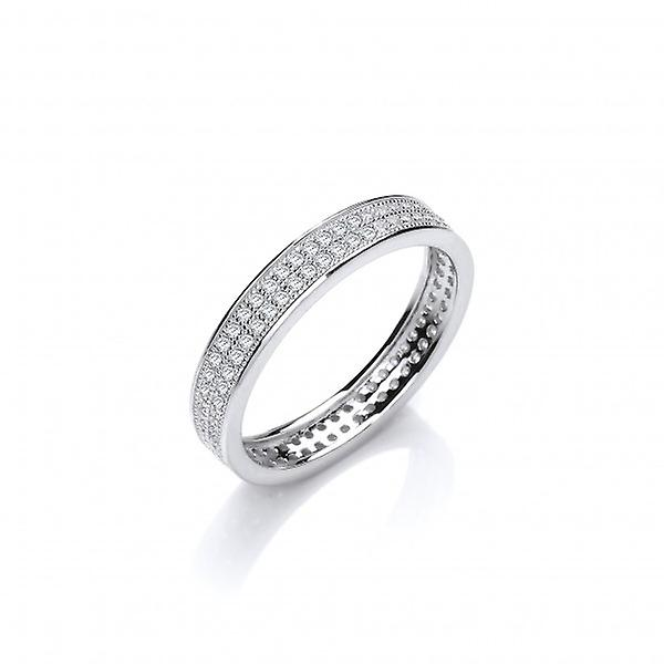 Cavendish French Slim Silver and CZ Wedding Band Ring