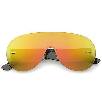Futuristico senza montatura lente Mono Aviator scudo occhiali da sole 71mm