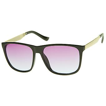 Modern Horn Rimmed Gradient Colored Lens Metal Temple Square Sunglasses 56mm