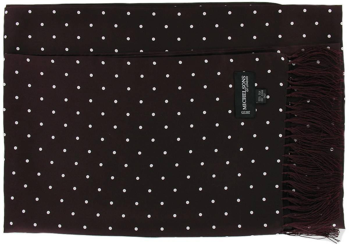 Michelsons of London Polka Dot Broad Silk Scarf - Burgundy