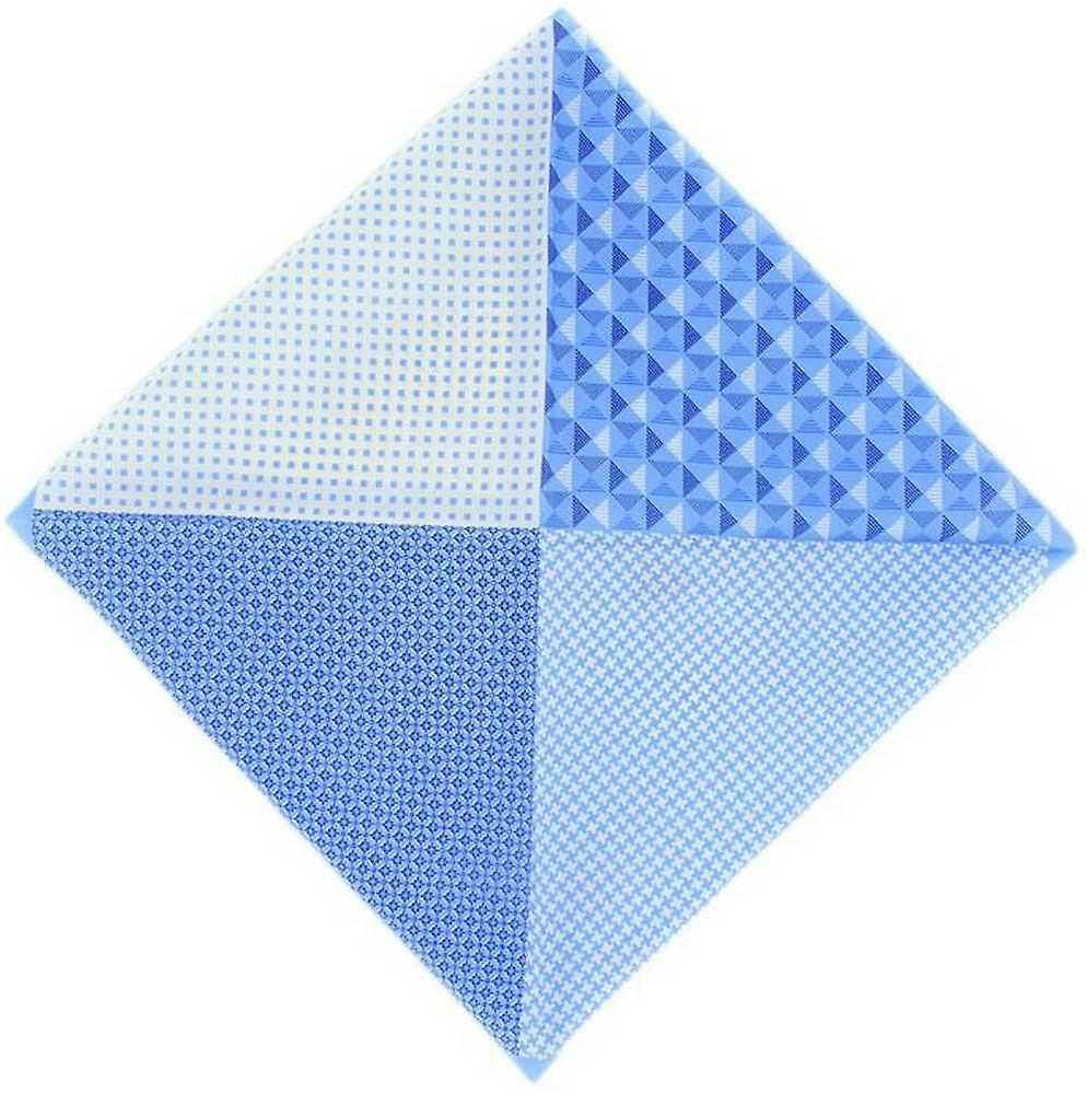 Michelsons of London 4 Way Patterned Silk Handkerchief - Light Blue