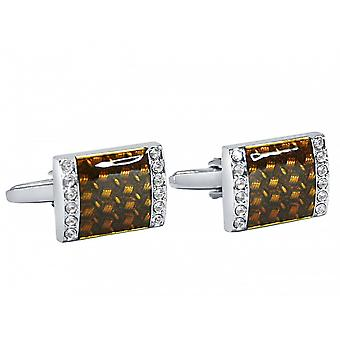 Men's cuff links stainless steel with fire enamel and crystals of silver Brown cufflinks