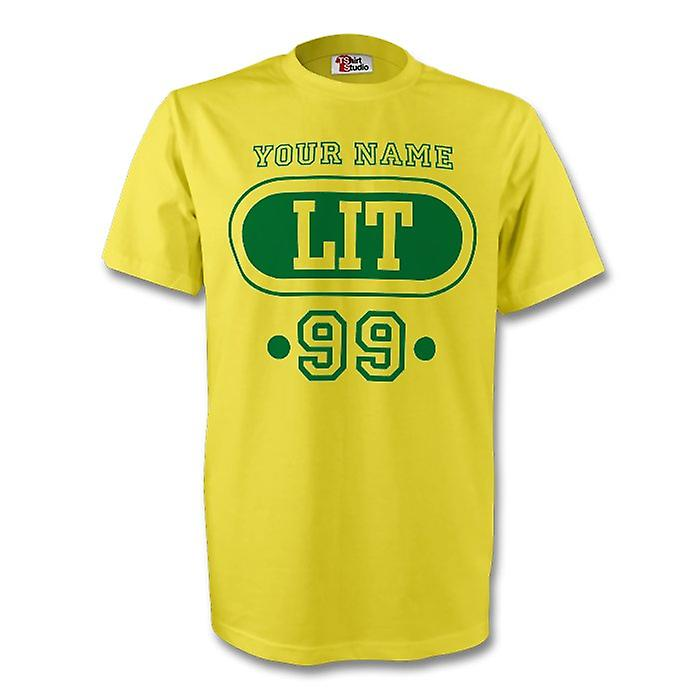 Lithuania Lit T-shirt (yellow) Your Name