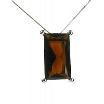 "Cavendish French Sterling Silver and Smokey Quartz Oblong Pendant with 16 - 18"" Silver Chain"