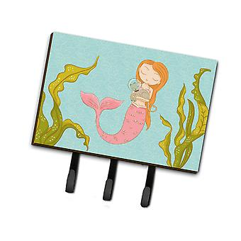 Carolines skarby BB8540TH68 Mermaid i kot smycz podwodne lub breloczek