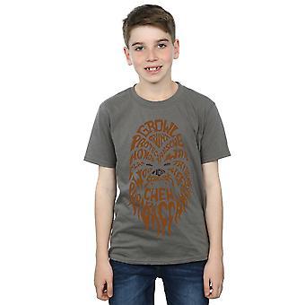 Star Wars Boys Chewbacca Text Head T-Shirt