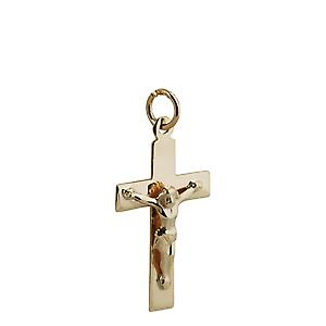 9ct Gold 24x14mm flat latin Crucifix Cross
